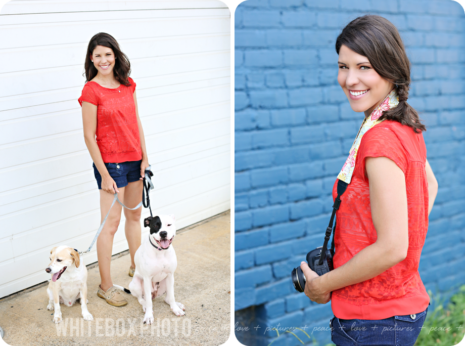 sara from whitebox photo photographs tara from in between the blinks photography and her two rescue dogs.