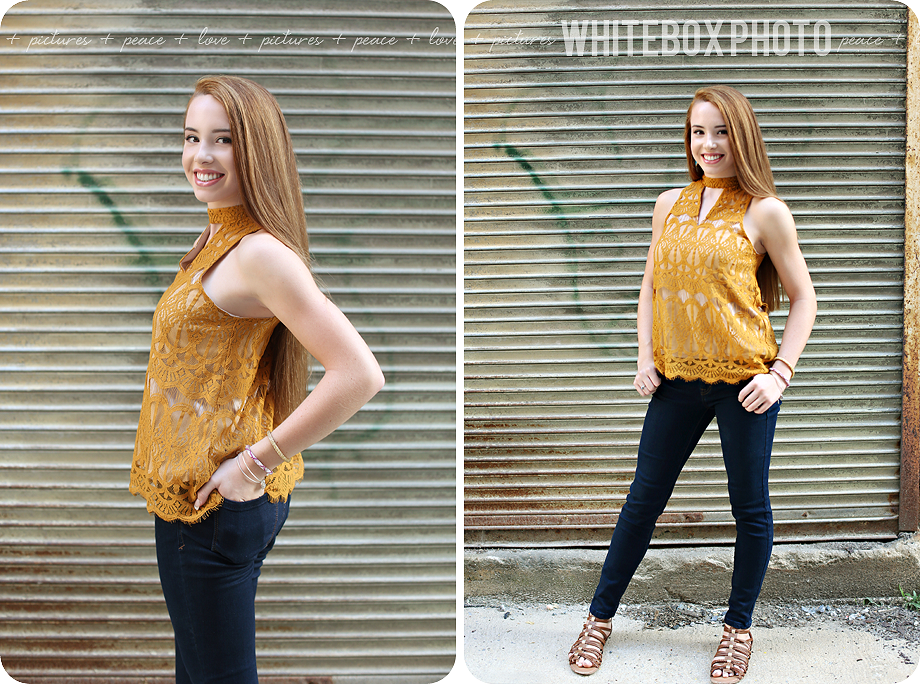 marie's senior portrait session in downtown greensboro by whitebox photo.